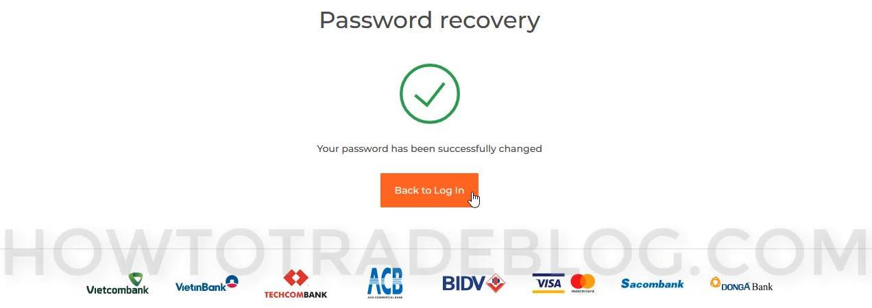 IQ Option đã thay đổi lại mật khẩu theo yêu cầu