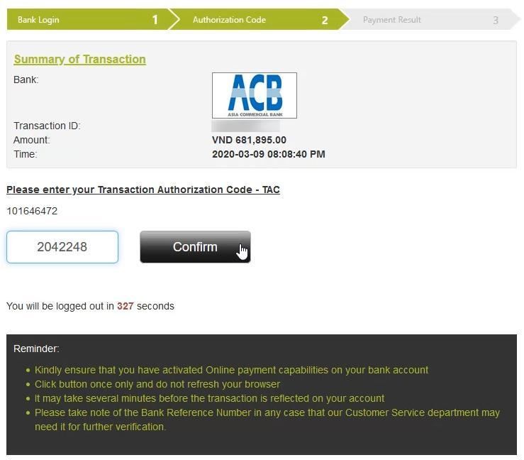 Điền mã OTP để yêu cầu nạp tiền vào IQ Option