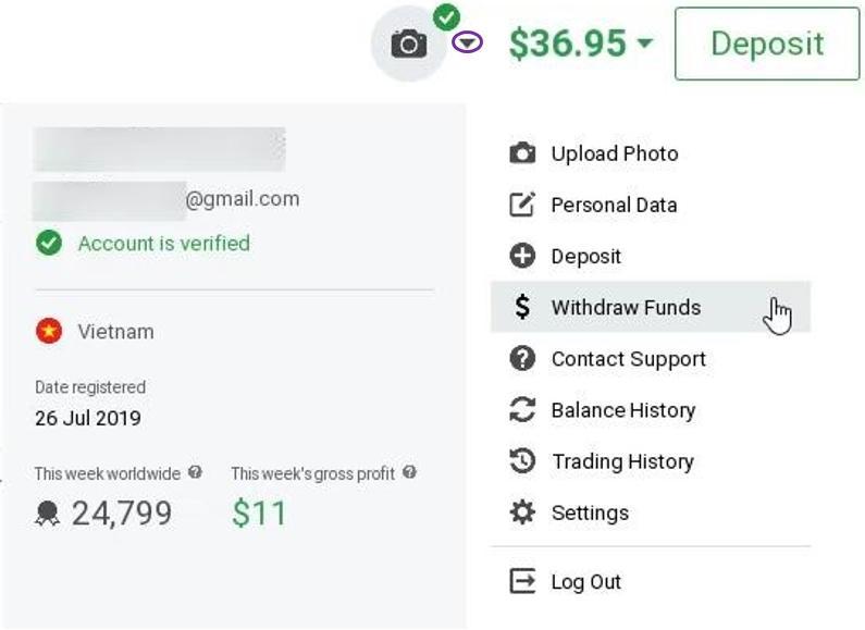 Rút tiền từ tài khoản IQ Option