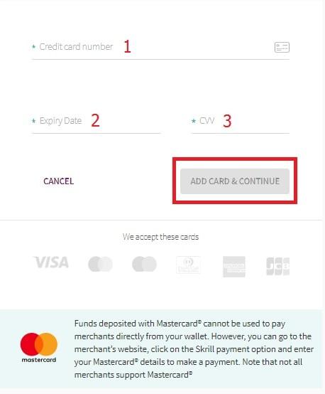 Enter your Visa/Master card information