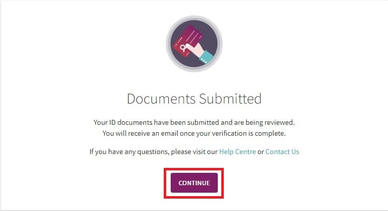 Confirmation of your documents submitted