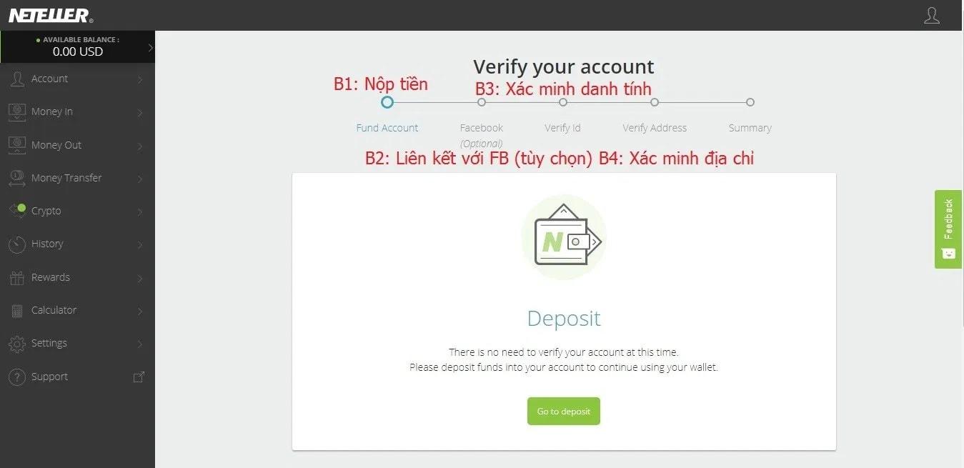 Quy trình đăng ký xác minh tài khoản Neteller