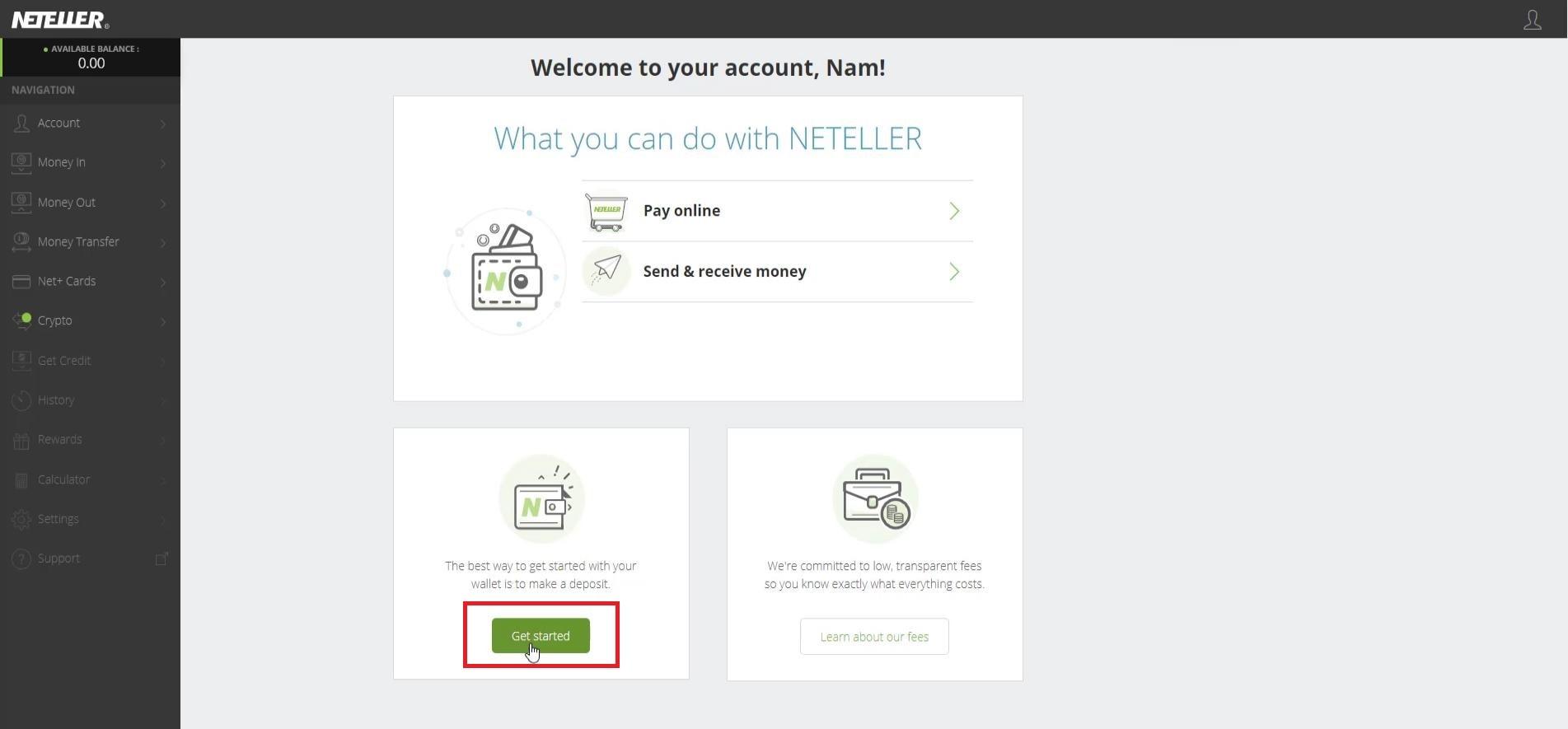 Nhấn Get Started ở giao diện đăng nhập tài khoản Neteller vừa tạo