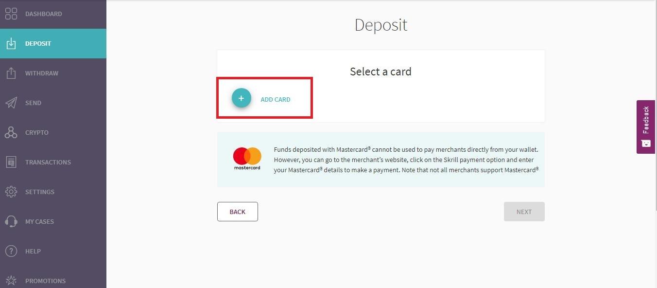 Clique em Adicionar cartão para adicionar o Visa ou Mastercard que deseja usar