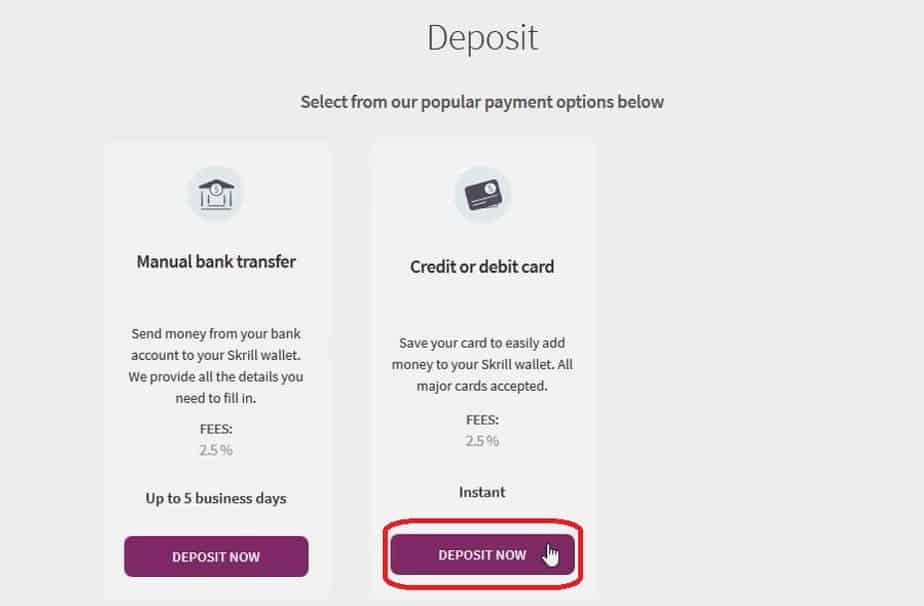 Klik Deposit Sekarang di kotak Kartu Kredit atau Debit