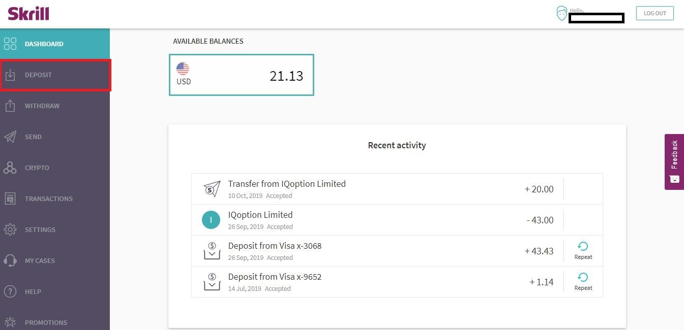 Select Deposit on the Dashboard page