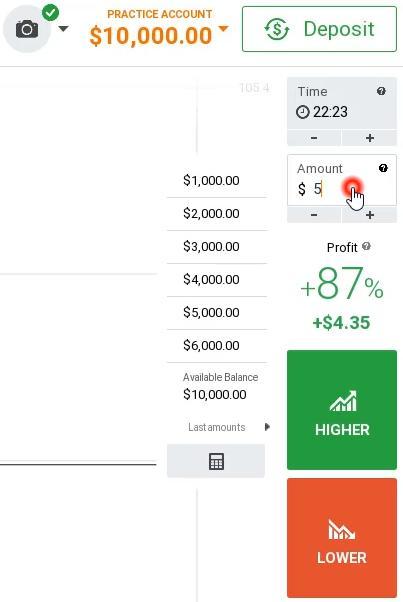 Số tiền đặt cược cho một giao dịch tại IQ Option