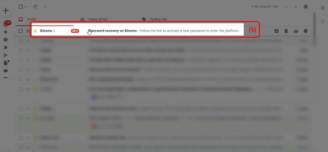 Email para recuperar sua conta do Binomo
