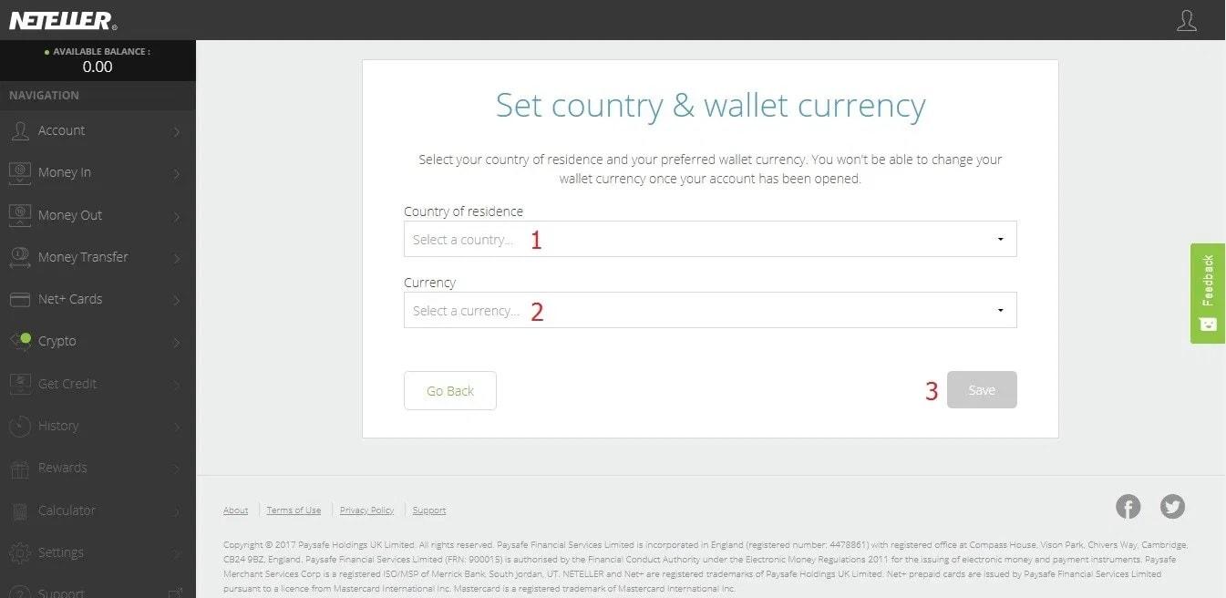 واحد پول و کشور محل اقامت را انتخاب کنید