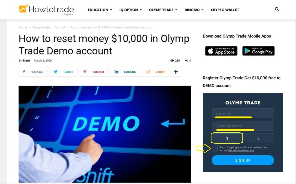 Cách tạo nhanh tài khoản Olymp Trade