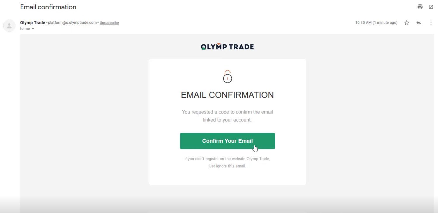 Xác nhận tài khoản Olymp Trade qua email
