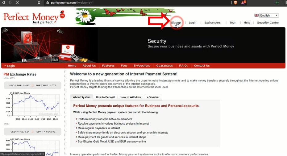 nhấn vào signup để tạo 1 tài khoản perfect money