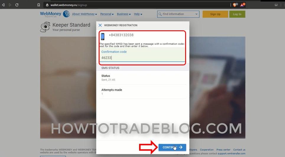 Xác nhận số điện thoại để đăng ký tài khoản Webmoney