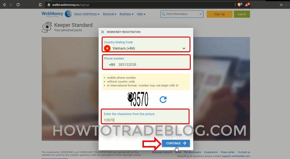 Nhập số điện thoại để đăng ký tài khoản Webmoney