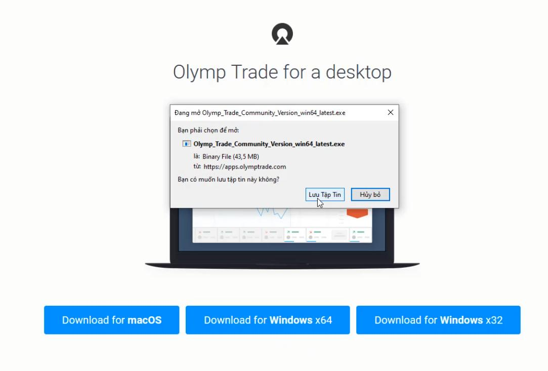 Tải ứng dụng Olymp Trade lên máy tính