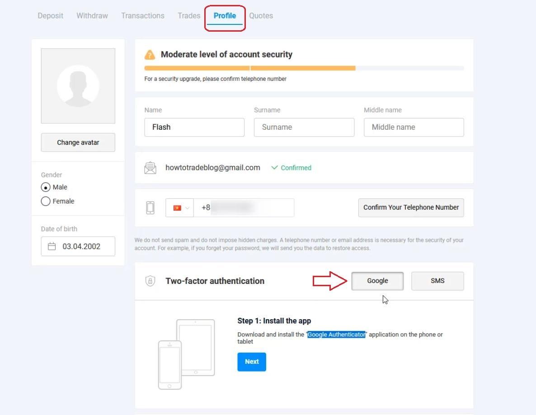 Cài đặt bảo mật Olymp Trade bằng Google Authenticator