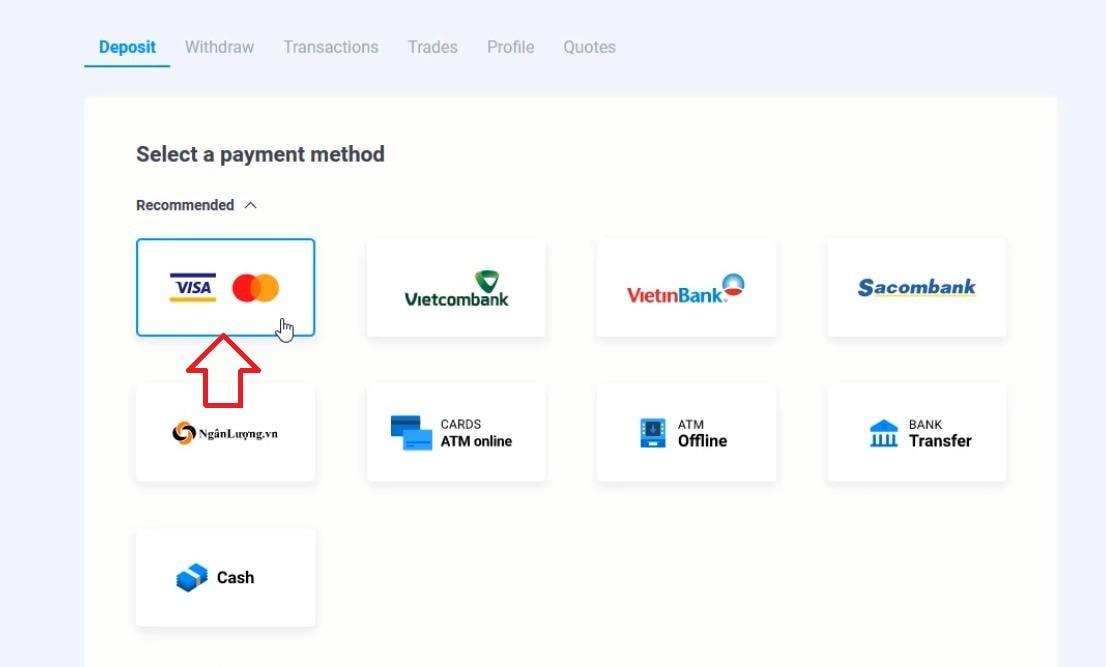 Chọn phương thức nạp tiền vào Olymp Trade bằng Visa/MasterCard