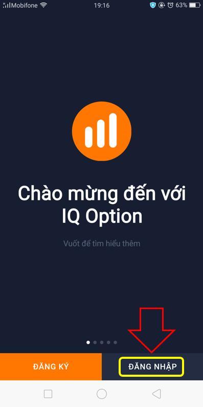 Login IQ Option app via smarphones