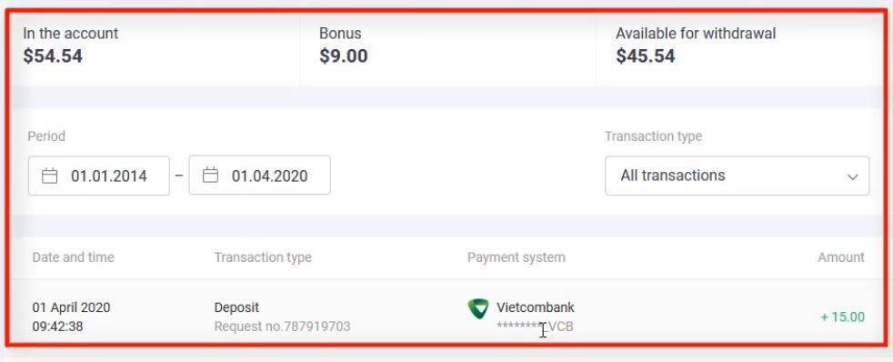 Verifique o dinheiro na conta Olymp Trade
