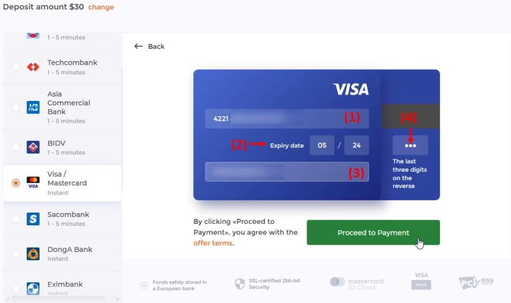 Điền thông tin tài khoản thẻ Visa/Mastercard