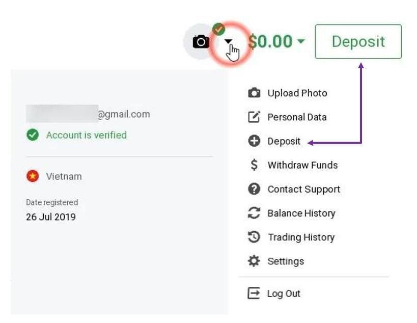 Đăng nhập tài khoản chọn mục nạp tiền
