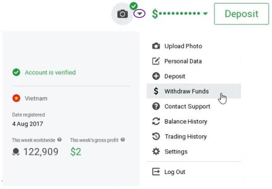 Đăng nhập tài khoản chọn mục rút tiền