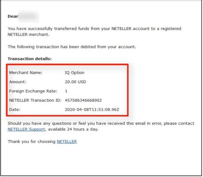 Mail thông báo từ Neteller đã chuyển tiền cho IQ Option