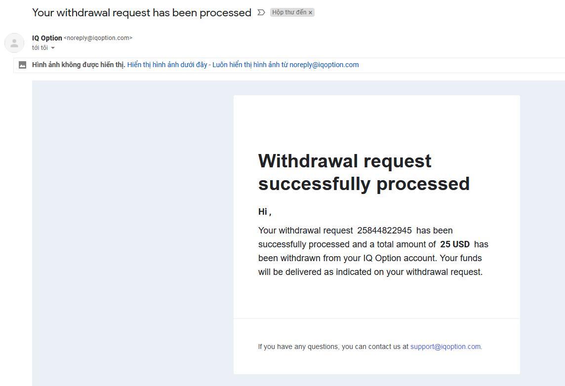 Mail thông báo đã chuyển tiền thành công