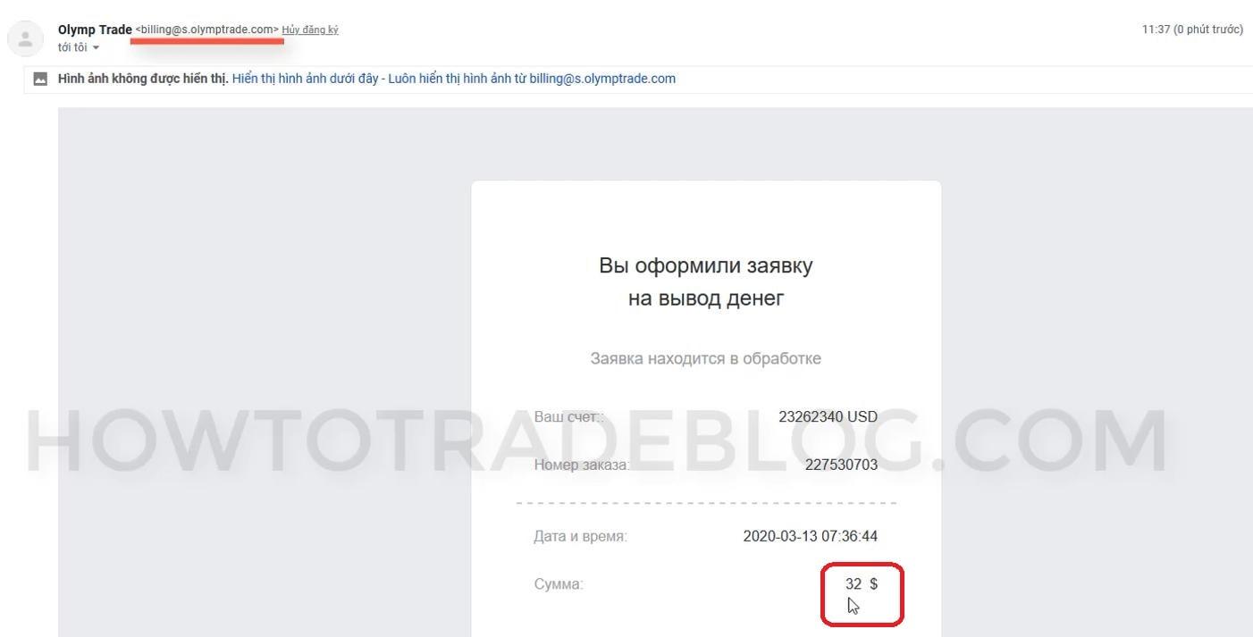 Olymp Trade -mail de confirmação de retirada da Olymp Trade