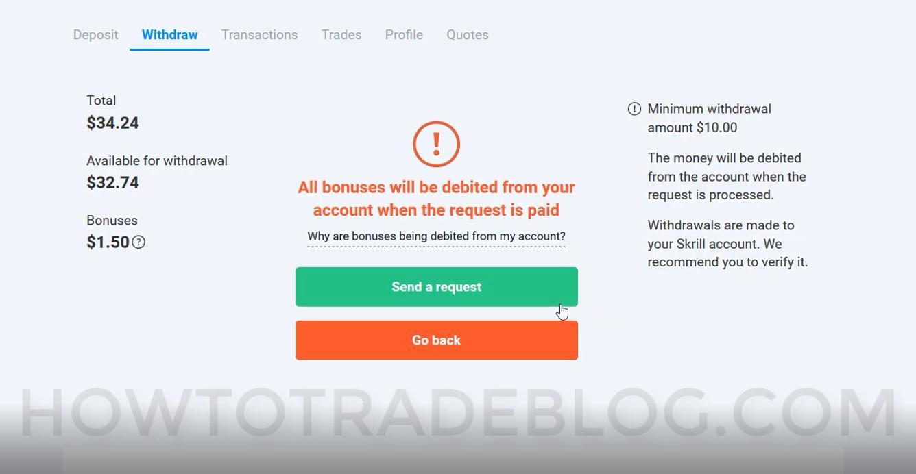 Confirmação de retirada da Olymp Trade