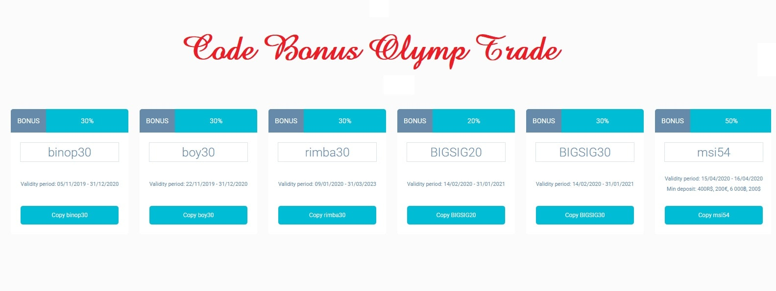 Olymp Trade promotion codes
