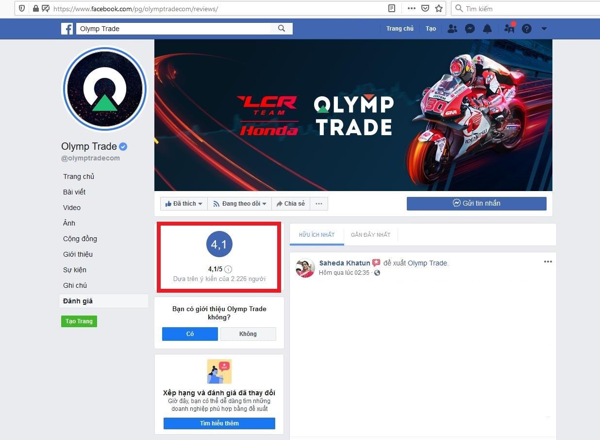 Đánh giá cộng đồng của Olymp Trade