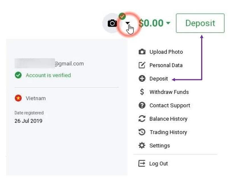 Login IQ Option and click Deposit button