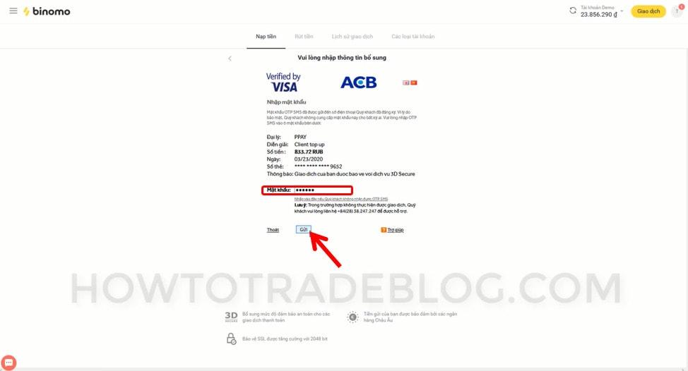 Xác nhận bằng SMS OTP thanh toán nạp tiền Binomo