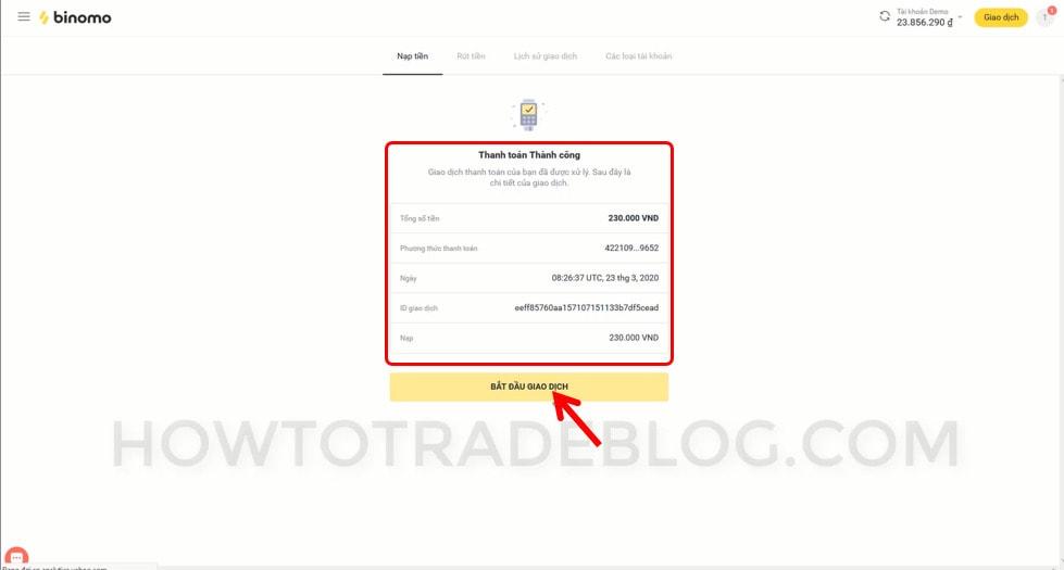 Thông báo nạp tiền thành công vào tài khoản Binomo
