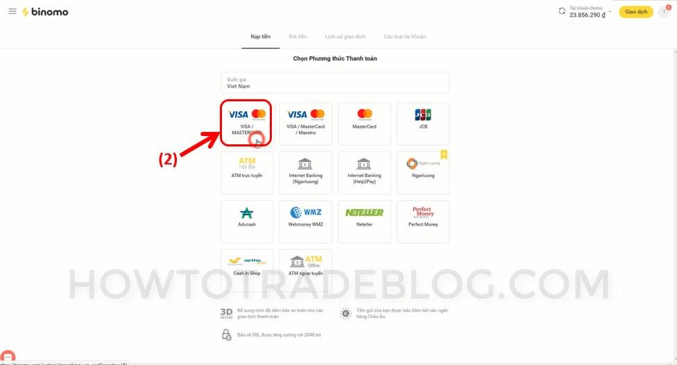 Chọn phương thức nạp tiền VISA Master Card