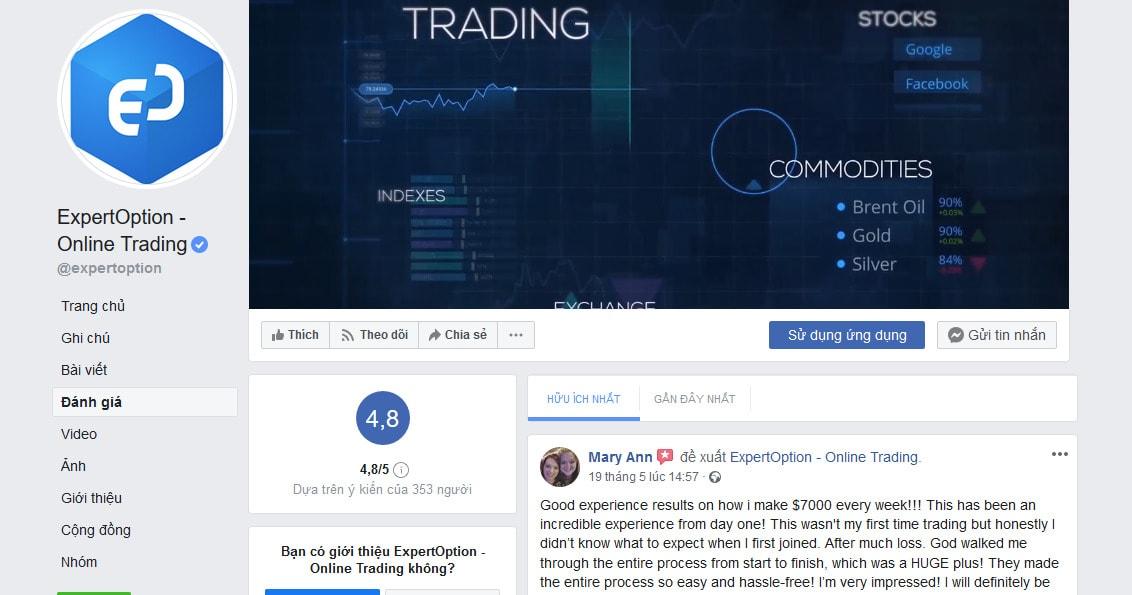 Đánh giá Expert Option trên Facebook - ExpertOption là gì