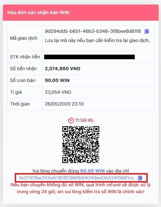 Hóa đơn bán Coin tại muabannhanh.io