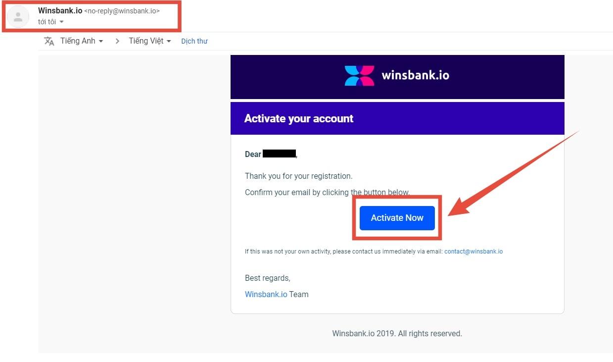 Kích hoạt tài khoản Wefinex bằng email đăng ký