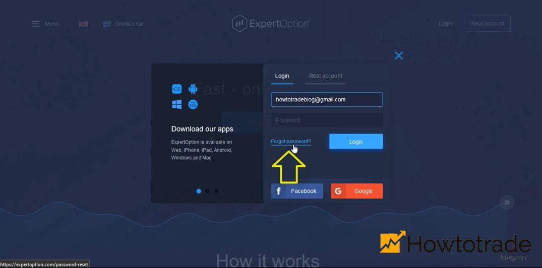 Cung cấp địa chỉ email của tài khoản Expert Option