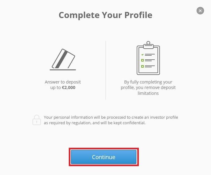 Tiến hành cập nhật thông tin tài khoản Etoro