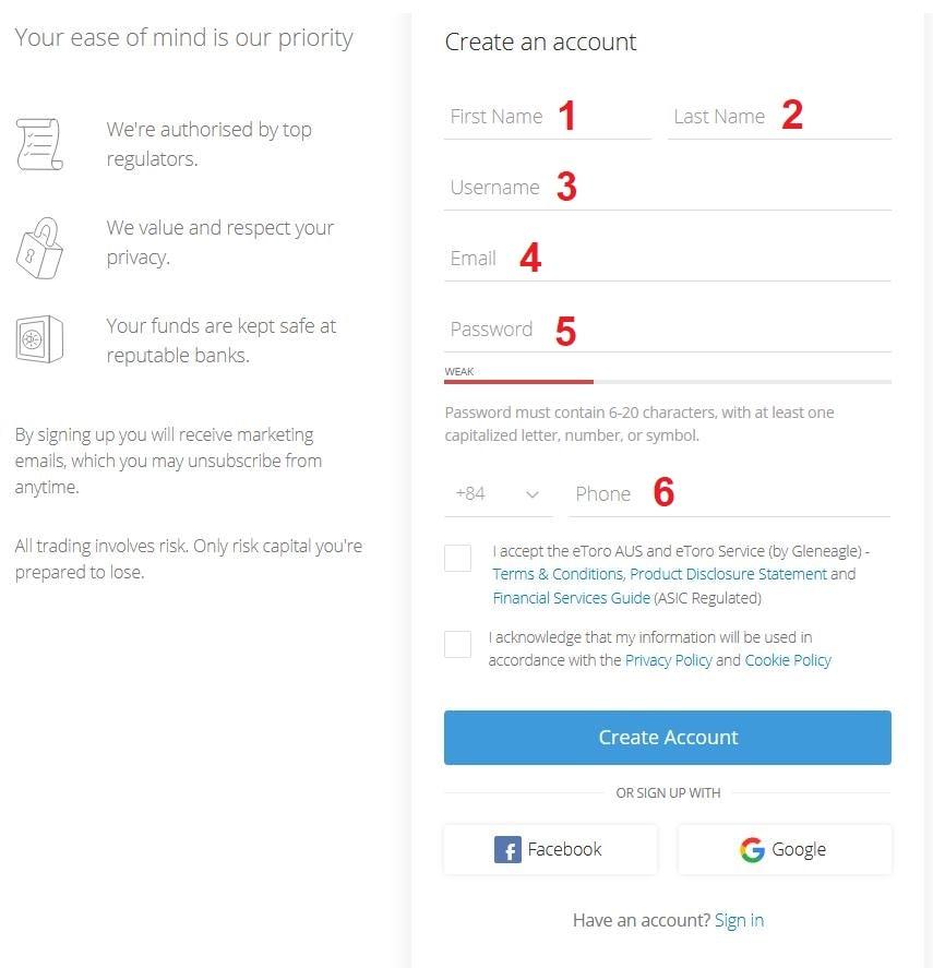 Điền thông tin đăng ký tài khoản Etoro
