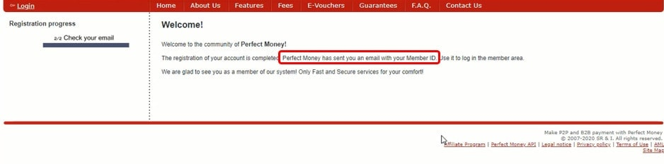 PerfectMoney ID notification sent to your email