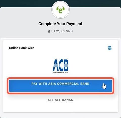 Xác nhận ngân hàng dùng để thanh toán