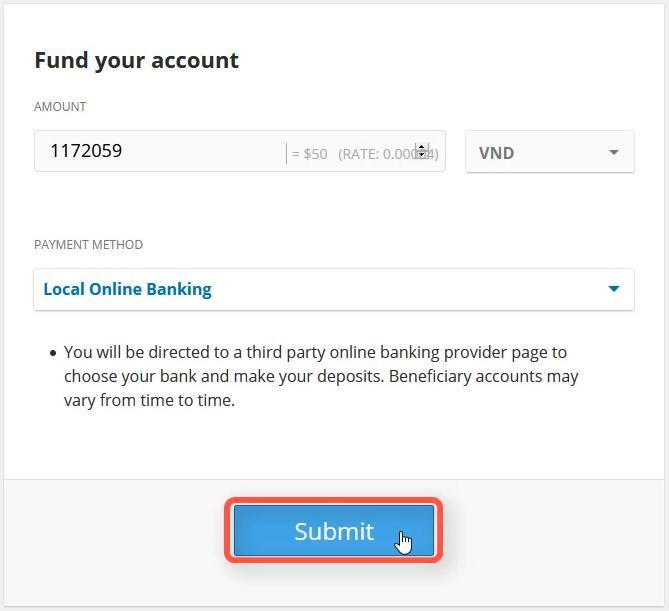 Điền số tiền muốn nạp và chọn phương thức thanh toán