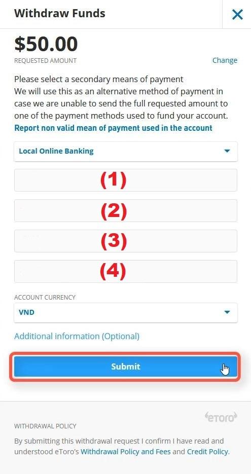 Điền thông tin tài khoản ngân hàng muốn rút về