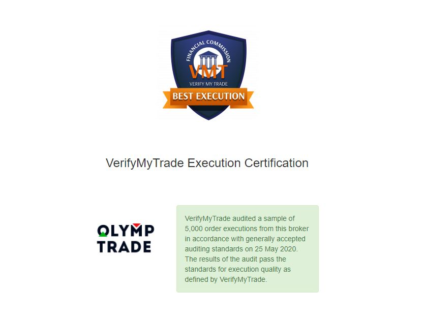 The price quote in Olymp Trade is monitored and supervised by VERIFY MY TRADE