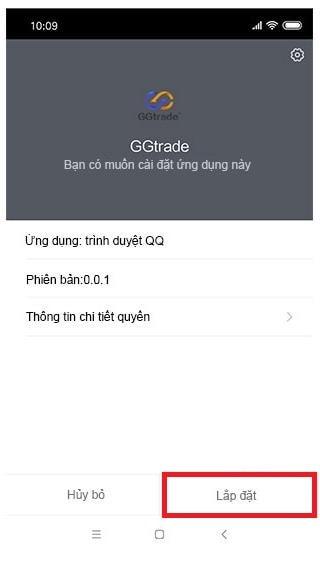 Cài đặt ứng dụng GGtrade trên smart phone