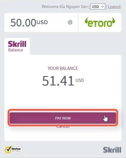 Chấp nhận thanh toán giao dịch tại ví Skrill
