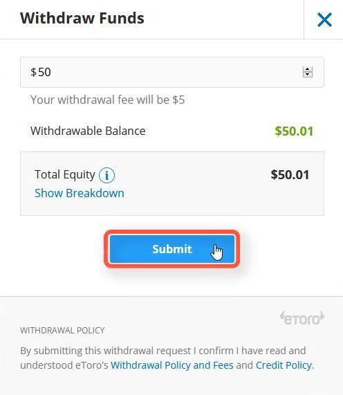 Điền số tiền muốn rút từ tài khoản Etoro